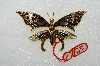 "**MBA #E54-239   ""Made In Spain Gold Plated Enameled Fancy Butterfly Pin"""