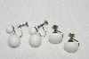 "MBA #E54-231   ""Vintage Lot Of ""2"" Pairs Of Milk Glass Earrings"""
