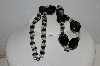 "MBA #E54-135   ""Vintage Black & Clear Lucite Bead Necklace"""