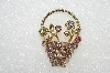 "**MBA #E54-261   ""Vintage Gold Tone Multi Colored Crystal Rhinestone Flower Basket Pin"""