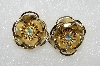 "MBA #E54-265   ""Vintage Gold Tone Fancy AB Crystal  Rhinestone Flower Clip On Earrings"""