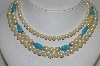 "MBA #E54-152   ""Vintage 3 Row Faux Glass Pearl & Blue Glass Bead Necklace"""