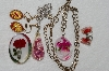 "**MBA #E54-210   ""Vintage Lot Of 5 Pieces Of Encased Lucite Jewelry"""