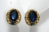 "MBA #E54-051   ""Made In West Germay Blue Glass And Faux Pearl Clip On Earrings"""