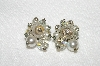 "MBA #E54-002   ""Vintage AB Crystal, Cracked Glass, Faux Pearl & Clear Rhinestone Clip On Earrings"""