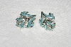 "MBA #E54-076   ""Coro Silvertone Blue Enameled Clip On Earrings"""