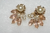 "MBA #E54-290   ""Vintage Gold Tone Pink Frosted Glass Stone & Faux Glass Pearl Clip On Earrings"""