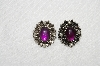 "MBA #E54-206   ""Sarah Coventry Silvertone Purple Lucite & Faux Pearl Clip On Earrings"""