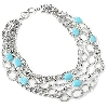 "**MBA #E55-316   ""Satinless Steel 20.5"" Turquoise Layered Five Strand Necklace"""