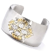 "**MBA #E54-513   ""Stainless Steel/ Two Tone 7.25 Brilliante Accent Cuff Bracelet"""