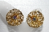 "MBA #E55-257   ""SAC Gold Tone Fancy AB Crystal Clip On Earrings"""