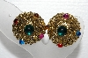 "+MBA #E55-055   ""Vintage Antiqued Gold Finish Multi Colored Stone Clip On Earrings"""