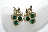 "MBA #E55-007   ""Vintage Gold Tone Fancy Green Rhinestone Clip On Earrings"""