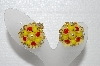 "+MBA #E55-251   ""Vintage Yellow & Orange Bead Thermoplastic Flower Clip On Earrings"""