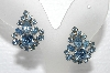 "MBA #E55-273   ""Vintage Silvertone Fancy Blue Crystal Rhinestone Screw Back Earrings"""