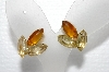 "+MBA #E55-038   ""Weiss Gold Tone Fancy Glass Stone Clip On Earrings"""