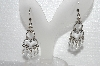 "MBA #E55-024   ""Silver Plated Clear Crystal & Rhinestone Dangle Style Pierced Earrings"""