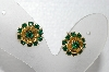 "MBA #E55-052   ""Judy Lee Gold Tone Green Rhinestone Small Rose Earrings"""