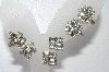 "** MBA #E55-042   ""Vintage Lot Of 3 Pairs Of Clear Crystal Rhinestone Screw Back Earrings"""