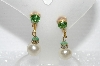 "MBA #E55-067   ""Vintage Gold Tone Faux Pearl Clip On Earrings"""