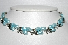 "MBA #E55-183   ""BSK Silvertone Blue Lucite Necklace"""