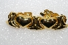 "**MBA #E55-226   ""Vintage Gold Plated Fancy Heart Bracelet"""