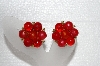 "MBA #E55-249   ""Kramer Gold Tone Red Bead Clip On Earrings"""