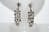 "MBA #E55-070   ""Vintage Fancy Clear Crystal Rhinestone Screw Back Earrings"""