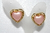 "MBA #E55-261   ""Joan Rivers Goldtone Pink Heart & Clear Crystal Rhinestone Earrings"""