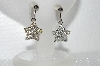 "MBA #E55-060  ""Designer Stamped Clear Crystal Rhinestone Star Earrings"""