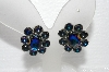 "MBA #E55-266  ""Madeline Silvertone Peacock Blue Glass Stone Clip On Earrings"""
