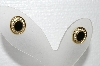 "+MBA #E55-074  ""Vintage Gold Plated Black Stone & Crystal Pierced Earrings"""