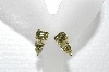 "MBA #E55-047   ""Vintage Gold Tone Yellow Crystal Rhinestone Earrings"""