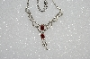 "MBA #E55-179   ""Vintage Silvertone Clear & Red Crystal Rhinestone Necklace"""