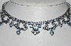 "MBA #E55-188   ""La Rel Silvertone Blue Crystal Fancy Rhinestone Necklace"""