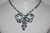"MBA #E55-196   ""Vintage Silvertone Fancy Blu Crystal Rhinestone Bow Necklace"""
