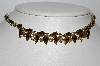 "MBA #E55-205   ""Vintage Gold Tone Brown & Yellow Rhinestone Choker"""