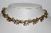 "MBA #E55-193   ""Vintage Gold Tone Pink & Clear Crystal Rhinestone Necklace"""
