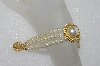 "MBA #E55-220   ""Vintage Gold Plated Fancy 3 Row Faux Glass Pearl Bracelet"""