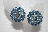 "MBA #E55-081   ""Vintage Silvertone Blue Crystal Rhinestone Clip On Earrings"""