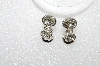 "MBA #E55-019   ""Monet Silvertone Clear Crystal Rhinestone Clip On Earrings"""