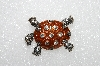 "**MBA #E55-166   ""Vintage Silvertone Clear Crystal Enameled Turtle Pin"""