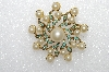 "**MBA #E55-161   ""Vintage Gold Plated Glass Pearl Fancy Pin"""