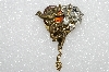 "**MBA #E55-176   ""Vintage Gold Tone Clear Crystal Angel Pin"""