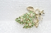 "**MBA #E55-163   ""Vintage Goldtone Green Crystal Rhinestone & Glass Pearl Pin"""
