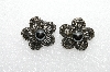 "+MBA #E55-281   ""Weiss Antiqued Silvertone Black Glass Stone Clip On Earrings"""