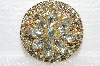 "**MBA #E55-137   ""Vintage Goldtone Clear Speclked Glass Stones & AB Crystal Rhinestone Brooch"""