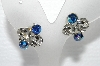 "MBA #E55-033   ""Vintage Silvertone Blue AB Crystal Clip On Earrings"""