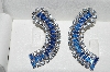 "MBA #E56-113   ""Large Juliana Cresent Shaped Fancy Blue Crystal Rhinestone Earrings"""