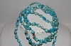 "MBA #E56-051   ""Vintage Blue Crystal & Lucite Bead 54"" Necklace"""